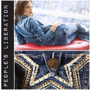 People's Liberation Embroidered Skinny Jeans